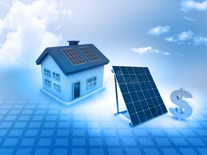 Casa com painéis solares e sinal de dólar imagem de stock
