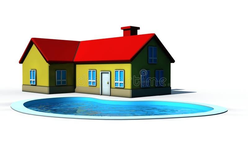 Download Casa com piscina ilustração stock. Ilustração de hotel - 10052658