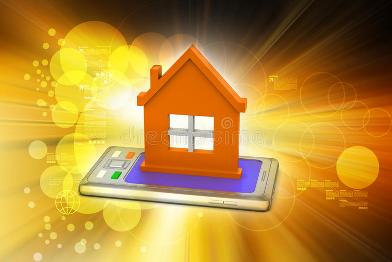 casa com telefone esperto ilustração royalty free