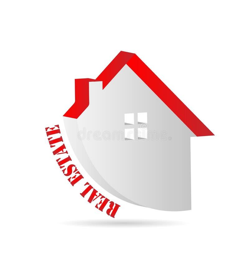 Casa com telhado vermelho, bens imobiliários, logotipo do vetor ilustração do vetor