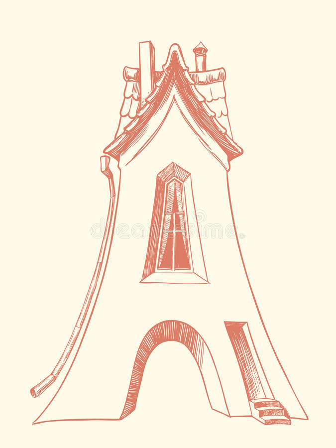 Casa com uma tubulação e um telhado repicado, similares à letra A Ilustração desenhada mão Gravura retro do vintage fotos de stock