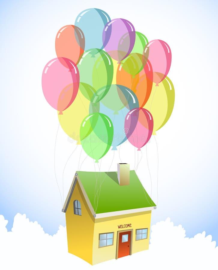 Download Casa Com Uns Lotes De Balões Coloridos. Vetor Ilustração do Vetor - Ilustração de azul, celebration: 29839684