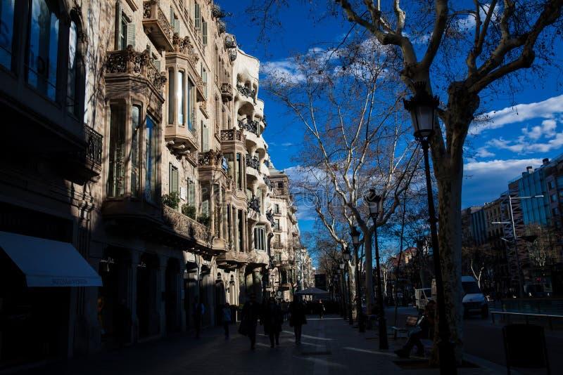 Casa Comalat i Barcelona Spanien arkivfoton