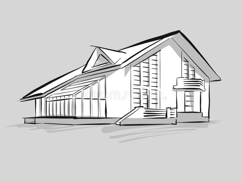 Casa con bosquejo conservador ilustración del vector