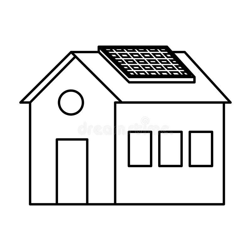 Casa con ecolog?a de la energ?a del panel solar ilustración del vector
