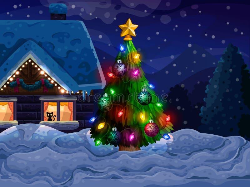 Casa con el árbol de navidad y la nieve stock de ilustración