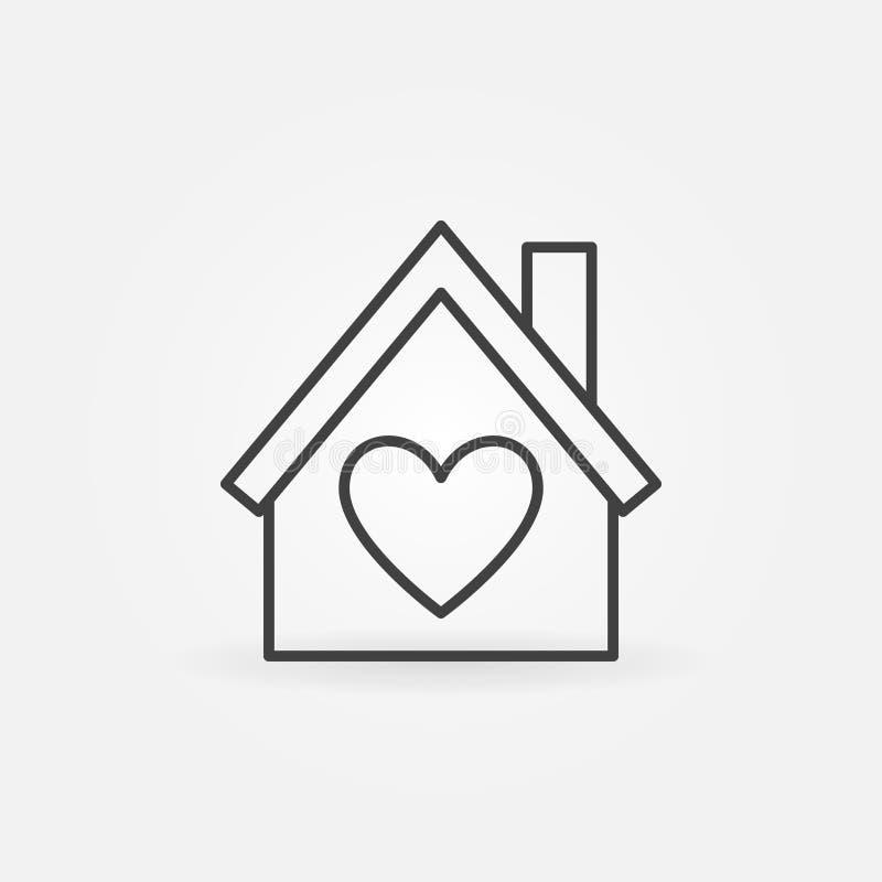 Casa con el icono del esquema del vector del corazón Símbolo de la casa del amor ilustración del vector