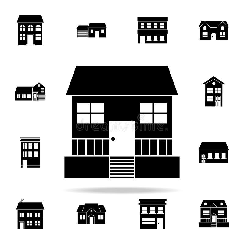 Casa con el icono del mirador contenga el sistema universal de los iconos para el web y el móvil stock de ilustración