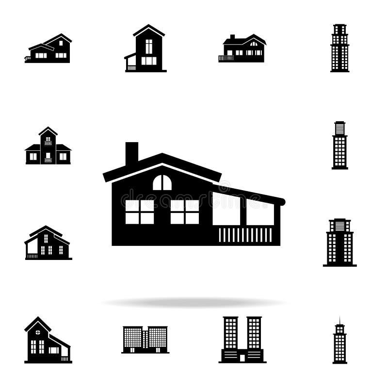 Casa con el icono del mirador contenga el sistema universal de los iconos para el web y el móvil ilustración del vector