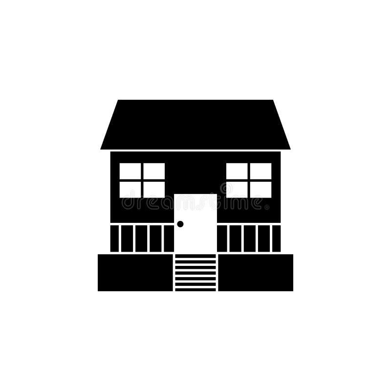 Casa con el icono del mirador Elemento del icono del viaje para los apps móviles del concepto y del web La línea fina casa con el libre illustration