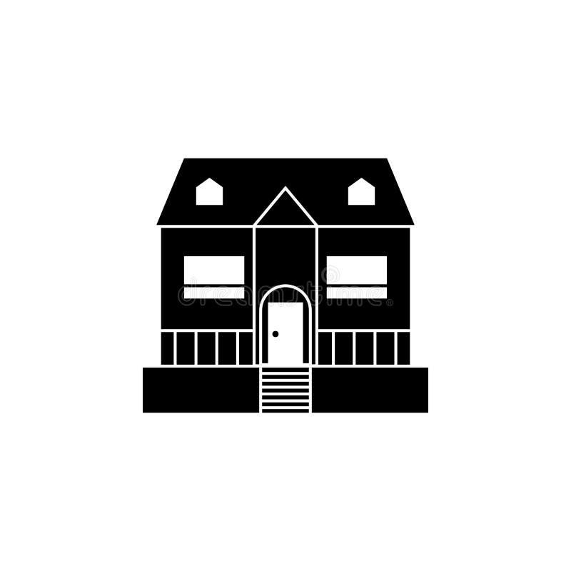 Casa con el icono del mirador Elemento del icono del viaje para los apps móviles del concepto y del web La línea fina casa con el stock de ilustración
