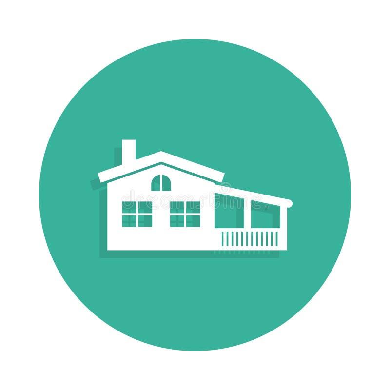 casa con el icono del mirador en estilo de la insignia con la sombra ilustración del vector