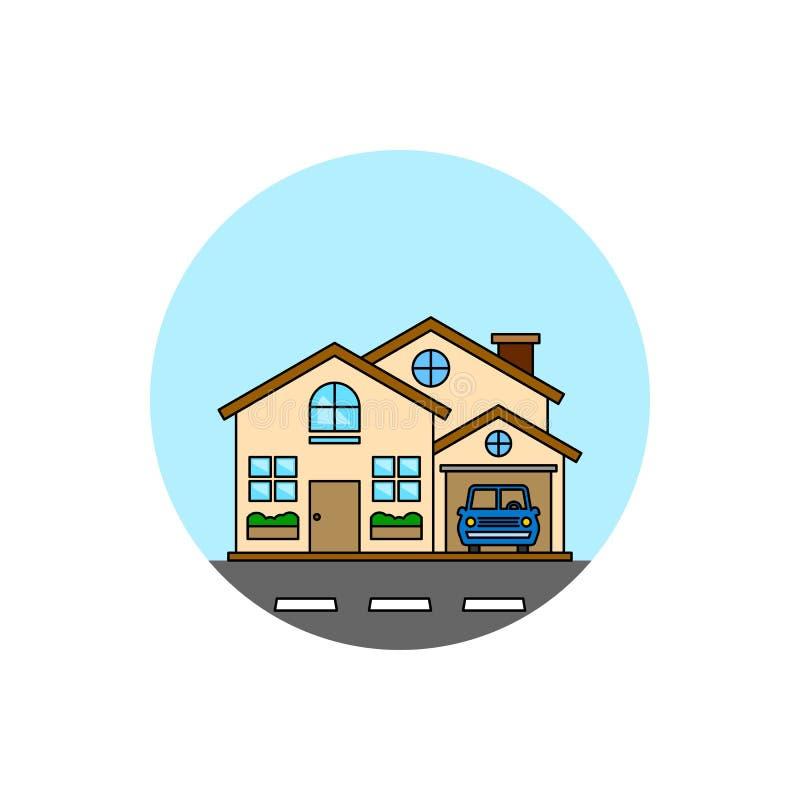 Casa con el icono del paisaje urbano del edificio del garaje ilustración del vector