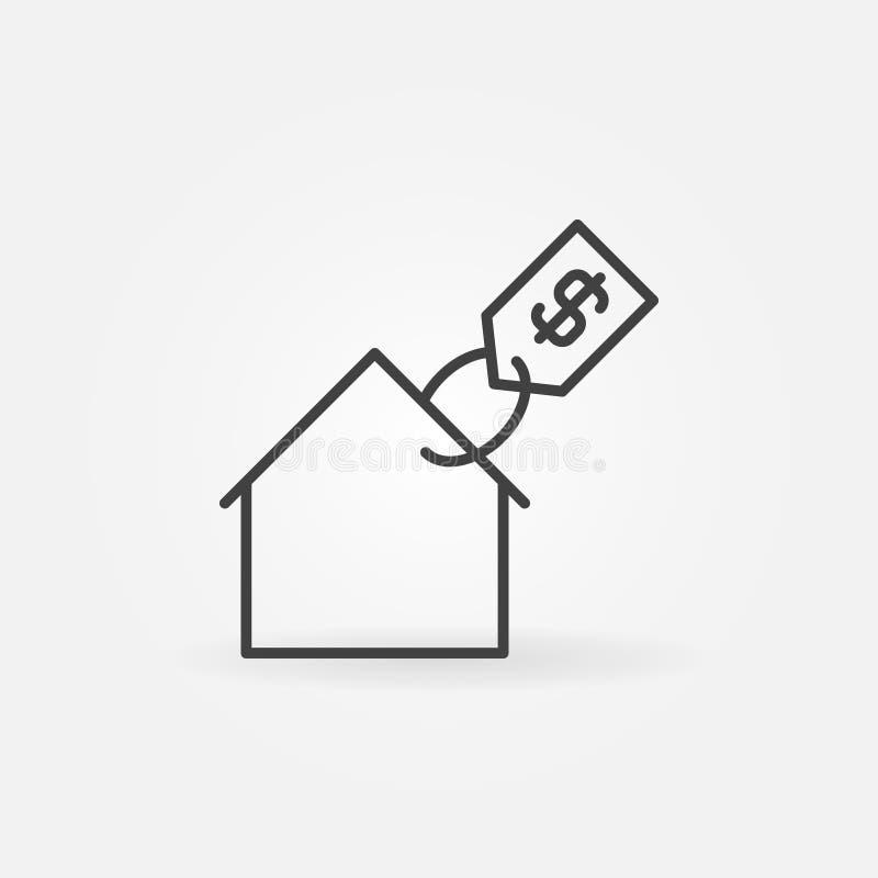 Casa con el icono del precio stock de ilustración