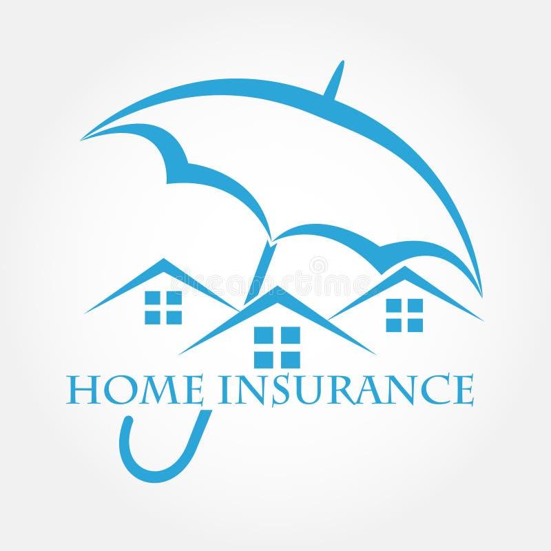Casa con el icono del vector del paraguas ilustración del vector