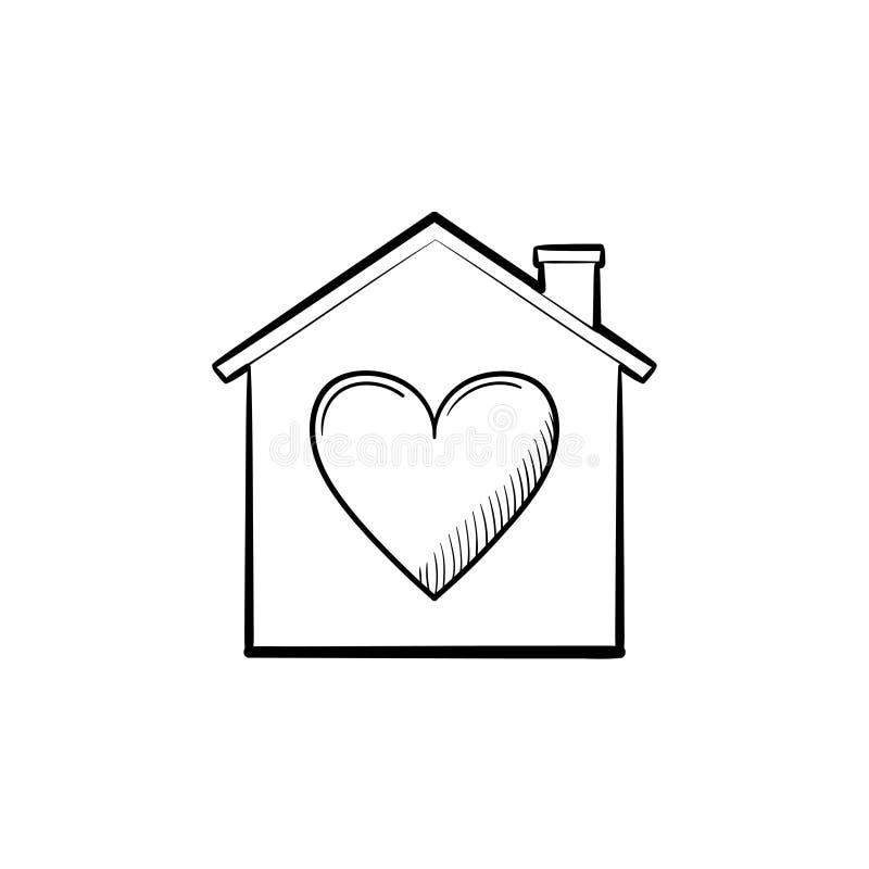 Casa con el icono dibujado mano del garabato del esquema del corazón stock de ilustración