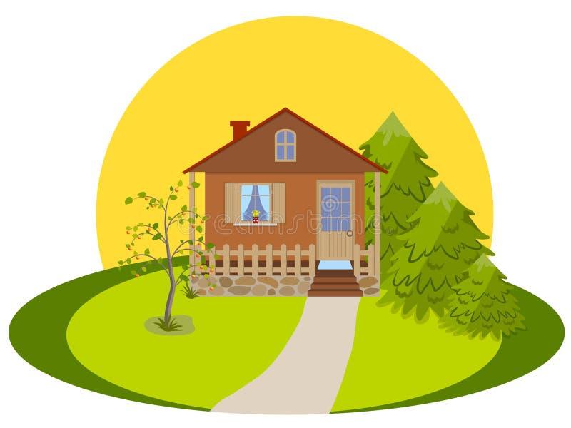 Casa con el mirador stock de ilustración