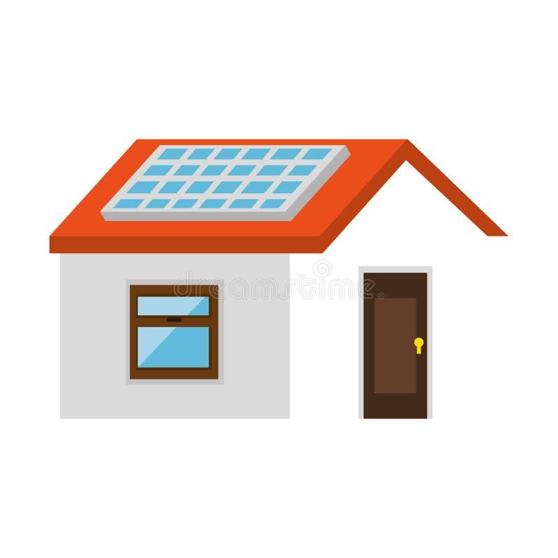 Casa con el panel solar ilustración del vector