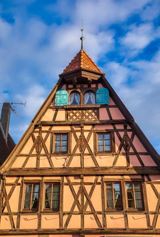 Casa con entramado de madera Rothenburg ob der Tauber Casco Antiguo Baviera Alemania fotografía de archivo
