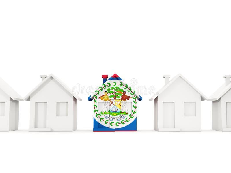 Casa con la bandera de Belice ilustración del vector