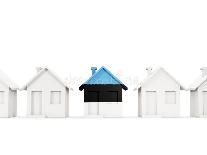 Casa con la bandera de Estonia stock de ilustración