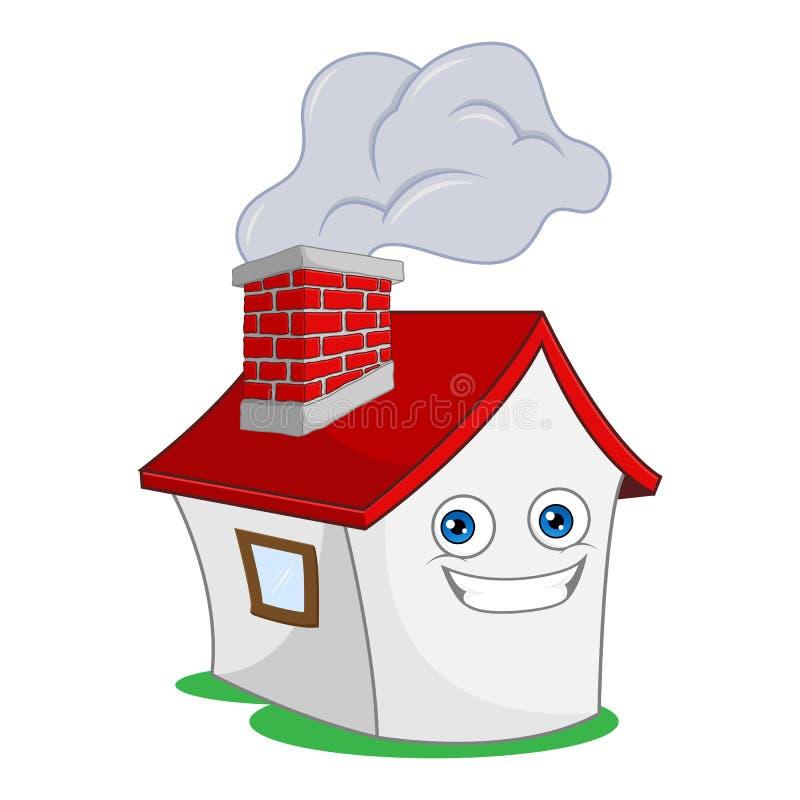 Casa con la chimenea que fuma stock de ilustración