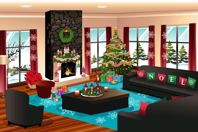 Casa con la decoración de la Navidad stock de ilustración