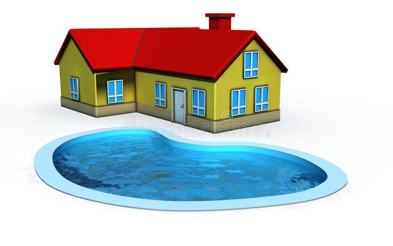 Casa con la piscina stock de ilustración