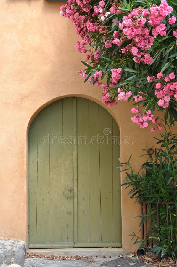 Casa con la puerta de madera y la enredadera floreciente imágenes de archivo libres de regalías