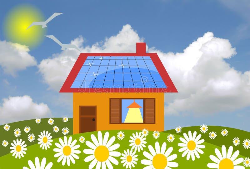 Casa con los paneles solares libre illustration