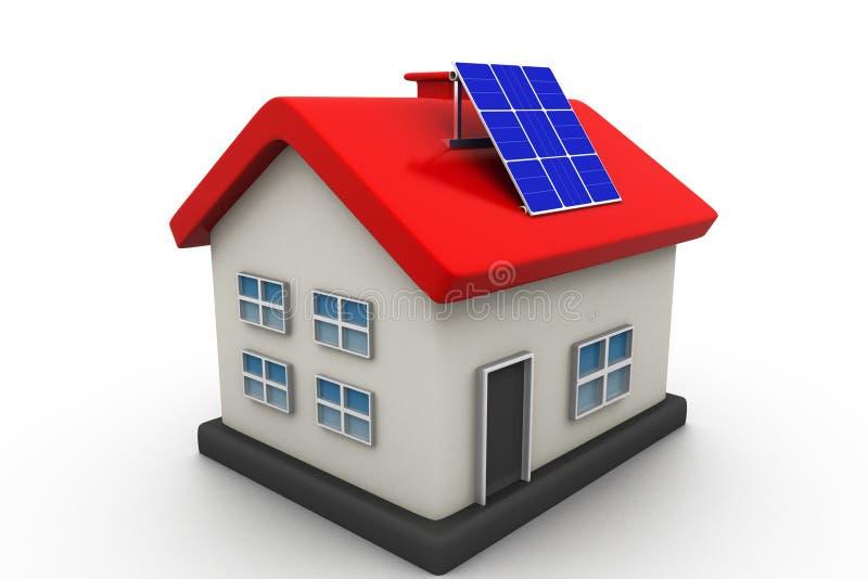 Casa con los paneles solares stock de ilustración