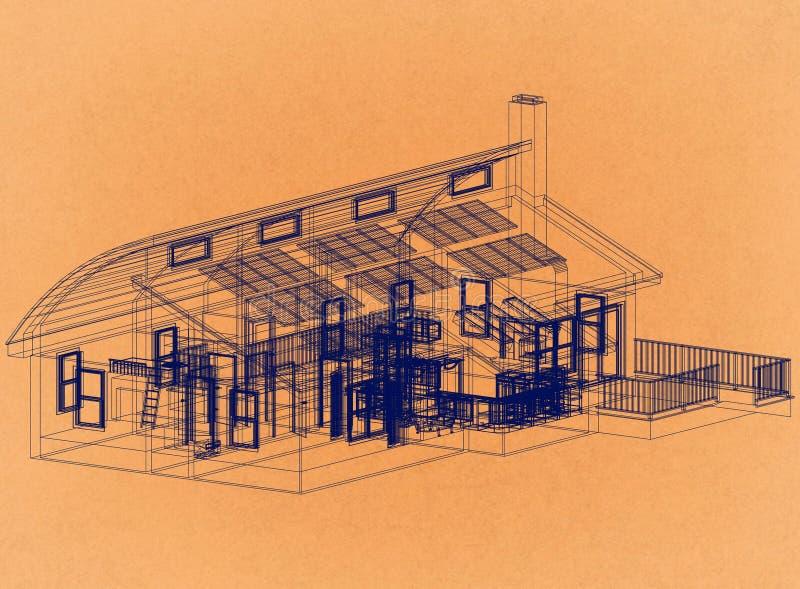 Casa con los paneles solares - arquitecto retro Blueprint imagen de archivo libre de regalías