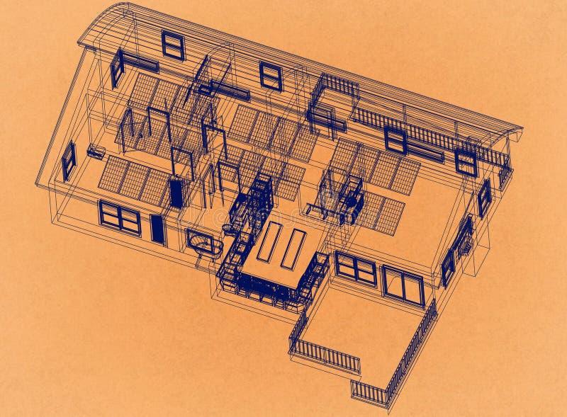 Casa con los paneles solares - arquitecto retro Blueprint imágenes de archivo libres de regalías