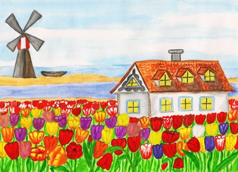Casa con los tulipanes (casa en Holanda), pintando stock de ilustración
