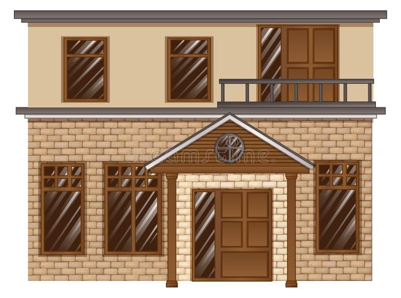 Casa con mattoni a vista con il balcone sul secondo piano illustrazione di stock