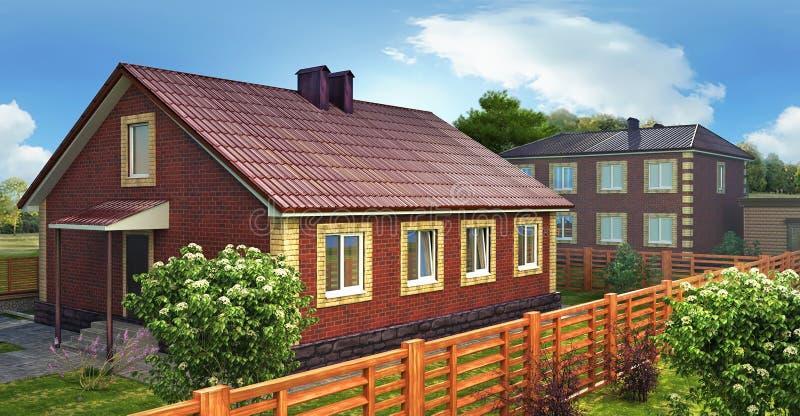 Casa con mattoni a vista con il territorio fotografia stock