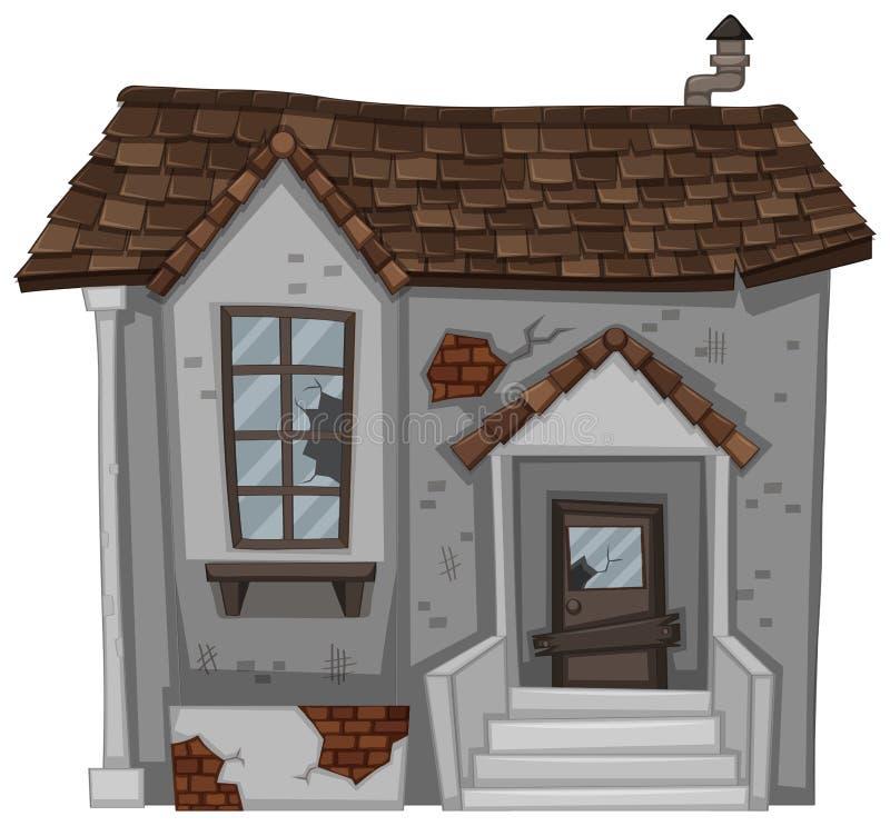 Casa con mattoni a vista con la porta e la finestra rotte royalty illustrazione gratis