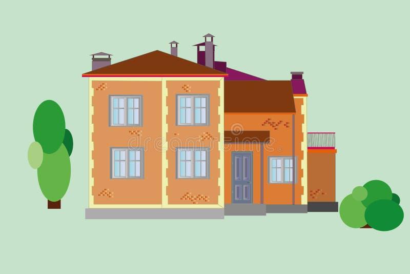 Download Casa Con Mattoni A Vista Di Vettore Illustrazione Vettoriale - Illustrazione di portello, coloniale: 56875452