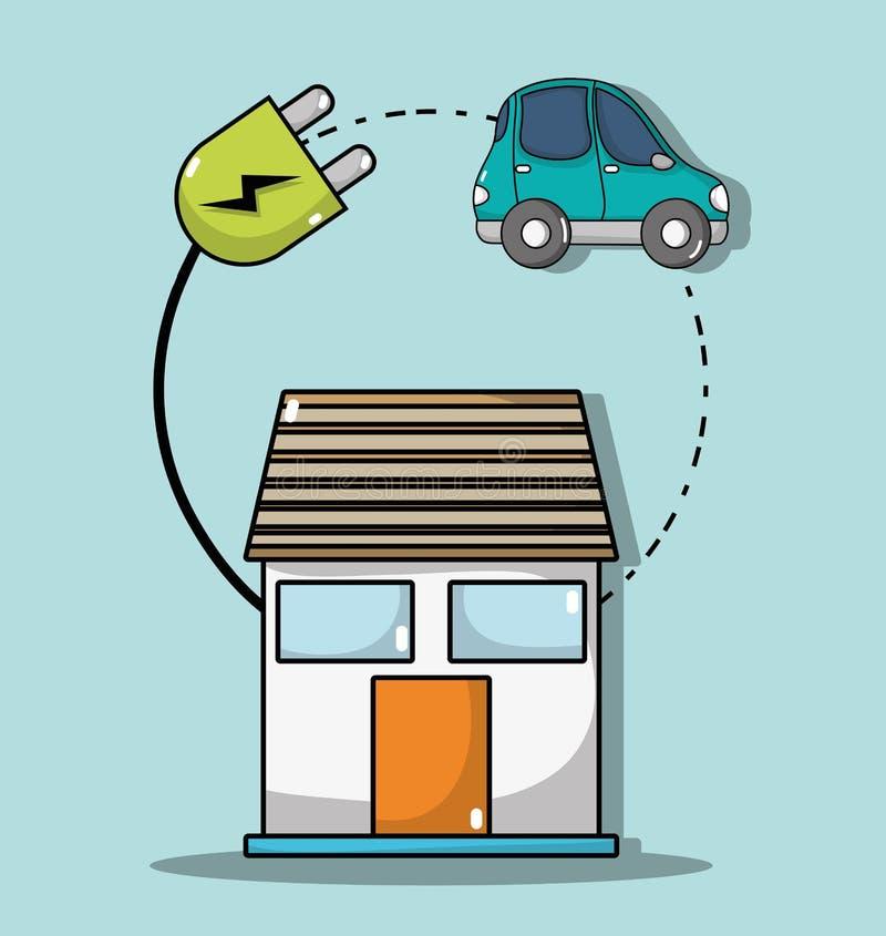 Casa con poder del cable a la conexión del coche eléctrico stock de ilustración