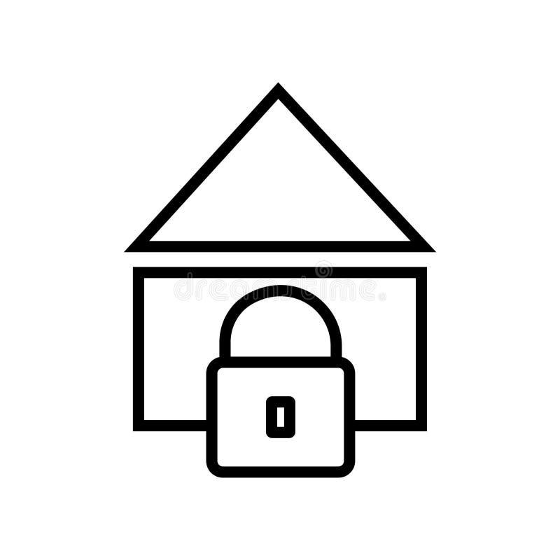 Casa con símbolo de la muestra del vector del icono de la cerradura libre illustration