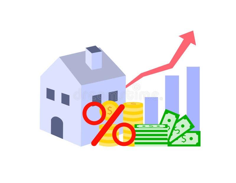 Casa con soldi e simbolo delle percentuali isolati su fondo bianco illustrazione di stock