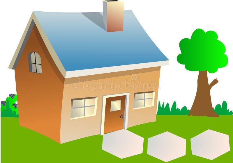 Casa con un albero illustrazione vettoriale
