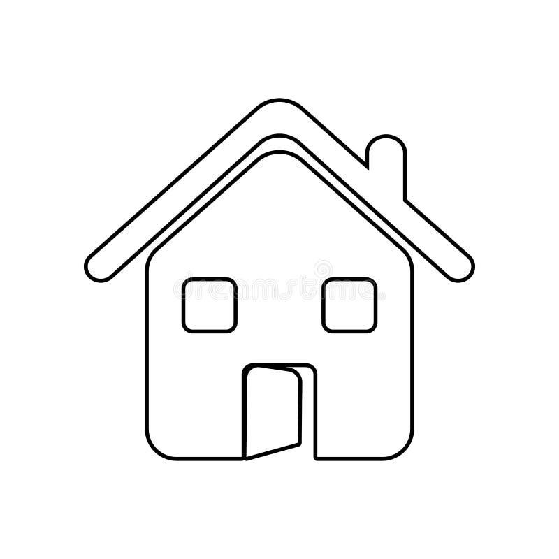 casa con un'icona della porta aperta Elemento dello zoo per il concetto e l'icona mobili dei apps di web _profilo, sottile linea  royalty illustrazione gratis