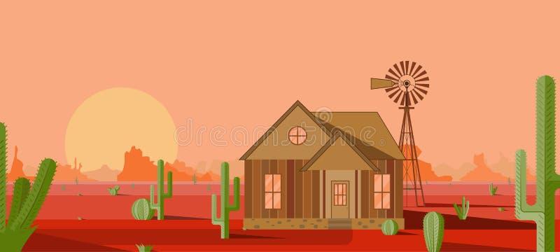 Casa con un molino en el desierto rojo stock de ilustración