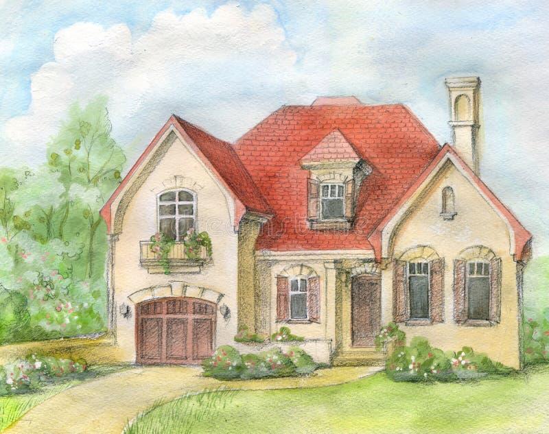 casa con una azotea embaldosada ilustración del vector