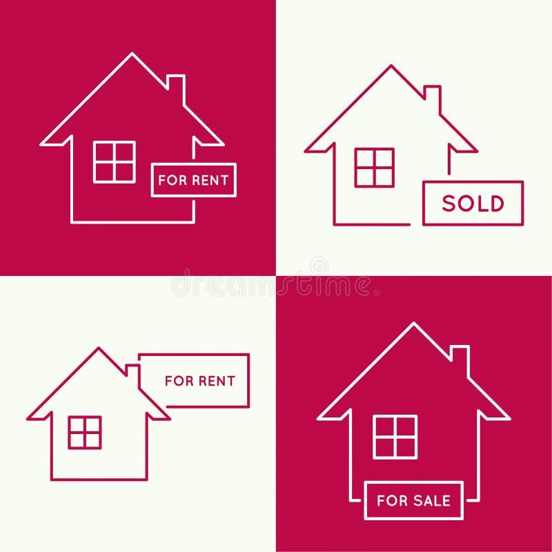 Casa con una muestra para el alquiler ilustración del vector