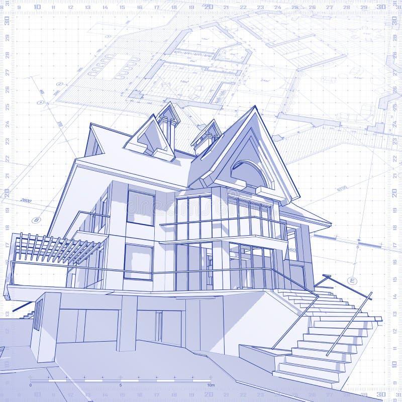 Casa - conceito da arquitetura ilustração stock