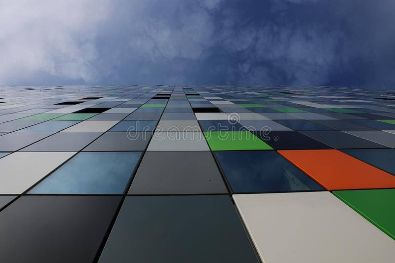 Casa confetti, the most colourful building on the uithof and a blue sky plus some clouds royalty free stock photo