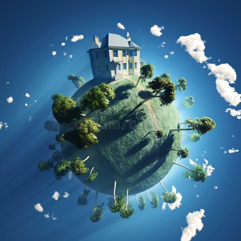 Casa confidencial no planeta pequeno ilustração do vetor