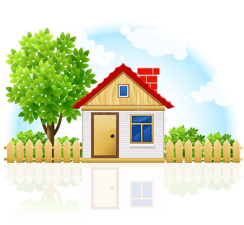 Casa confidencial pequena com drawning de madeira e a árvore ilustração do vetor
